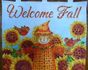 Wall Hanging Fall Autumn Wall Hanging Scarecrow Wall Hanging Harvest Wall Hanging Finished Wall Banner Stamped Felt Wall Hanging Home Decor