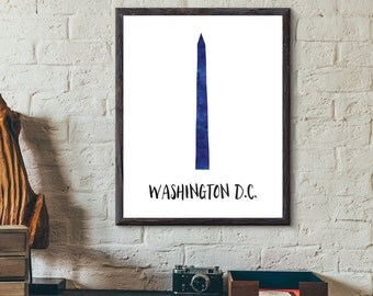 Washington, D.C., USA Watercolor Print - Washington Monument