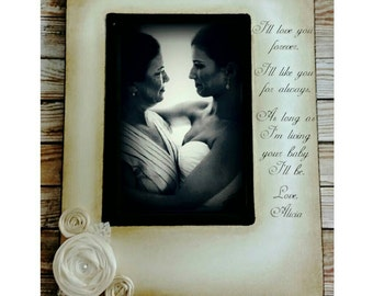 I'll love you forever, I'll like you for always, Mom, Mother of the Bride, From Daughter, Mothers Day Gift, Rustic Picture Frame,