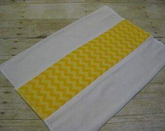Yellow Chevron Burp Rag- Ready to Ship