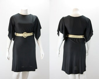 Large Vintage Dress - Black Bat Wing Dress