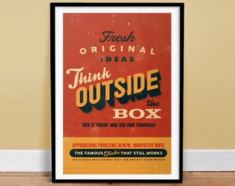 Think outside the box  - Typography Poster - Retro Art Print