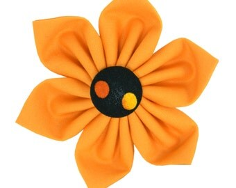 Halloween Polka Dot Dog Flower/ Black Orange Collar Flower: Halloween Ombre