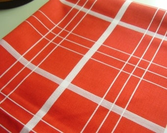Vintage 1950's, 60's, 70's Bright Red Orange and White Stripe Fabric, 3 yards