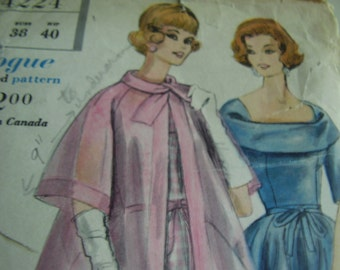 Vintage 1960's Vogue 4224 Special Design Dress and Coat Sewing Pattern, Size 18, Bust 38
