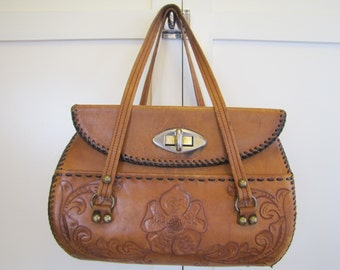 LG 1960's Tooled Leather Purse, Purse, Leather, Tooled, 1950's, 1960's, Brown, Handbag, Pocketbook, Boho, Hippie, Bohemian