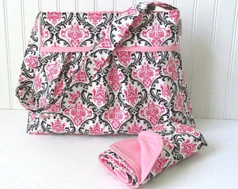 Pink Damask Diaper Bag with Matching Changing Pad Medium Nappy for Baby Girl
