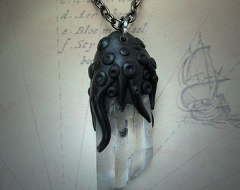 Tentacled Quartz Crystal Necklace - handmade hp lovecraft gothic