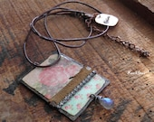 """Bohemian necklace- hippie """"On my road"""" Pendant with vintage roses-leather and rhinestone and labradorite drop"""