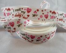 "Snowman Melt Daddy's Heart Christmas ribbon, Christmas 7/8"" Ribbon by the yard, RN14584"