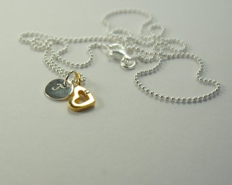 Tiny Heart,gold plated,Personalised silver necklace engraved,Heart pendant,delicate silver necklace,goldplated,for girls,wedding,braids maid