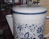 Vintage Coffee maker, top of stove, white and blue porcelian with inside intact, cute, great colors, collectable