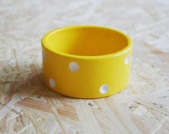 Polka Dot Vintage Bracelet/ Plastic Bracelet/Vintage Bracelet/Yellow Bracelet/Vintage Bangle/1980's Style