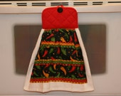 """JALEPENO LOVER - Double Sided Hanging Kitchen Towel - """"Jalepenos Galore"""" with black button & double-sided pot holder top"""