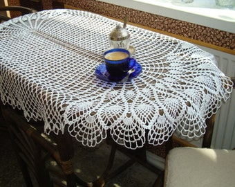 Oval table topper, white crocheted tablecloth, handmade big lace Table runner, Table center, wedding table topper