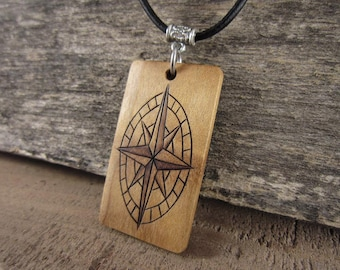 Mens Compass Necklace, Graduation Gift For Him, Compass Jewelry, Wood Compass Pendant