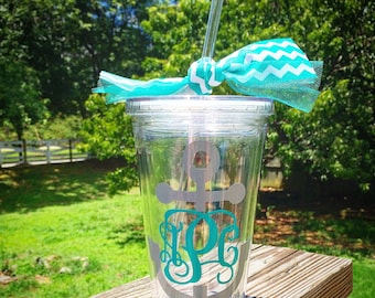 Anchor Monogram Straw Tumbler Acrylic Cup
