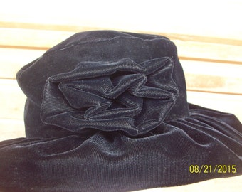 Velvet like hat with matching fabric flower (4 inchs, see pic. 1)  unique