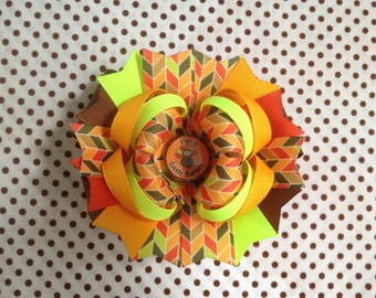 SALE! Ready To Ship Hairbow! Thanksgiving Hairbow, I'm A Little Turkey Hairbow, Fall Hairbow, Boutique Hairbow