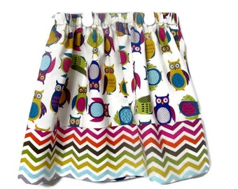 Girl's Owl and chevron skirt - Simple Handmade Skirt - Girl's fashion - children's clothes - Toddler girl modest skirt - Size 4