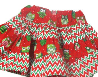 Baby Girl Skirt - Girls Ruffle Skirt - Infant Red Skirt - Baby Gift - Gifts for Girls - Red Chevron Skirt - Owl Skirt