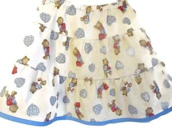 Girls Ruffle Skirt -  Peasant Skirt - Modest Skirt - Girls Twirly Skirt - Back To School Skirt - Boutique Skirt - Kids Fashion - Size 5