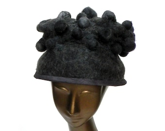 Charcoal Grey Couture Hat with Brim - Felted Wearable Art - New Look Inspired Dish Hat - Mother of the Bride - Unique Headgear