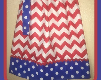 Red, White, and Blue Pillowcase Dress