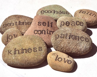 Fruit of the Spirit religious word stones, set of 9