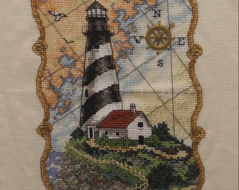 Lighthouse - Completed Cross Stitch Decoration