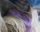 Organic hand-spun 100% cotton yarn: Natural yellow/gray color ( 2 rolls / ~3.2 oz per roll)