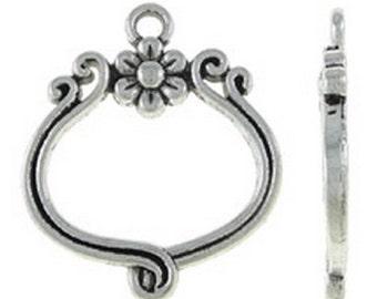12pc 26x22mm antique silver finish metal pendant-8510