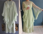 70s Chiffon Maxi Dress with Wide Angel Sleeves