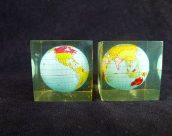 VIntage World Globe in Lucite Cube made in Hong Kong paperweight set of 2