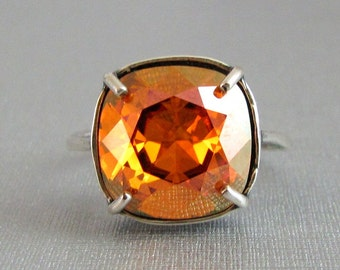 Chili Pepper Swarovski Crystal Ring Adjustable Antique Silver Square Cushion