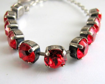 Swarovski Tennis Bracelet, Ruby Red, Crystal Bracelet,Swarovski Crystal, Antique Silver Bracelet