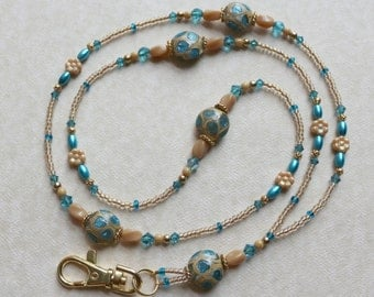 O O A K - Pearl & Lampwork Glass Beaded Lanyard ID Badge Holder - SEASIDE MAGIC - C 138