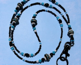 O O A K - Lampwork Glass Beaded Lanyard ID Badge Holder - BLACK and BLUE - C 134