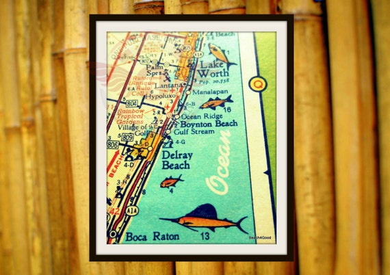 Delray Beach Map, Mid Century Modern Map, Mid Century Art, Mid Century Florida Art Delray Beach House Wall Art Illustrated Map, Florida Gift