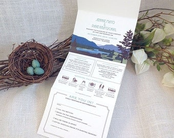 Tariko River Montana Landscape Trifold Wedding Invitation Self Mailer: Get started deposit or DIY Payment