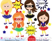 INSTANT DOWNLOAD, dark skin tones super heroes in tutus clipart, comic clip art, for personal or commercial use