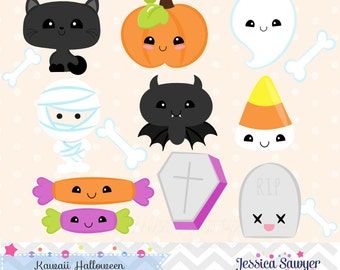 INSTANT DOWNLOAD, kawaii halloween clipart and vectors for personal and commercial use