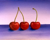 Cherry Art 5x7 Cherries Painting Art Print, Still Life Painting Kitchen Decor Giclee Print, Fruit Oil Painting, Food Miniature Painting