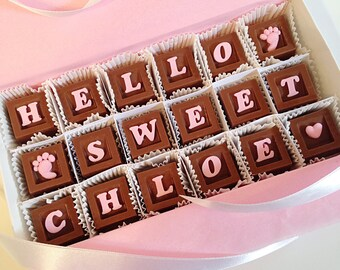 New Baby Gift - Baby Girl Congratulations Chocolates and Card