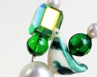 Embellished Vintage Gems and Handmade Porcelain Dove Corsage Pin 2 pc. Set. Green & Pearl