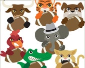 Football Mascot Clip Art -Personal and Limited Commercial Use- Gator, Elephant, Wildcat, Bulldog, Tiger, Mascots Clipart