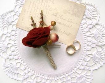 Mens Burgundy Felt Rose Boutonniere, Felt Wedding Flowers Grooms Wedding Boutonniere, Lapel Flower, Wine Rose, Groomsmen, Buttonhole