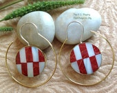 "Bohemian/Tribal Earrings, ""Lark"" Handcrafted, MOP Shell, Red Shell, Brass & Sterling, Boho-Chick"