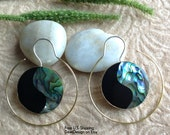 "Bohemian/Tribal Earrings, ""Echo"" Handcrafted, Paua Shell, Brass & Sterling, Boho-Chick"