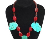 Turquoise  19 inch necklace//Turquoise slab necklace// chunky turquoise necklace// turquoise chunky necklace/ chunky red necklace// PG235